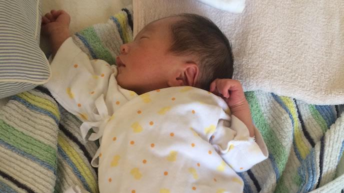 手を挙げ伸びをする新生児の赤ちゃん