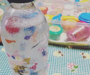 手作りペットボトルのスノードームの画像
