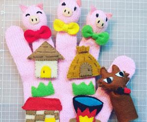 手作りの手袋指人形の画像