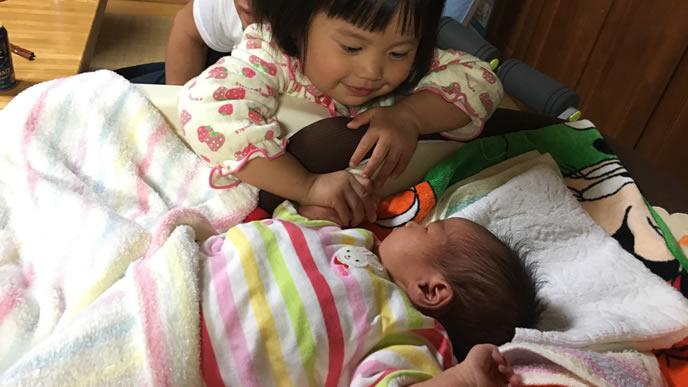生まれた赤ちゃんの様子を見る姉