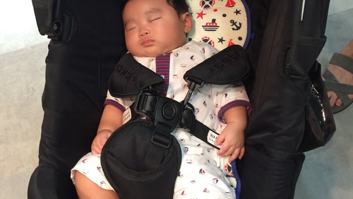 ベビーカーで外気浴中に寝た赤ちゃん