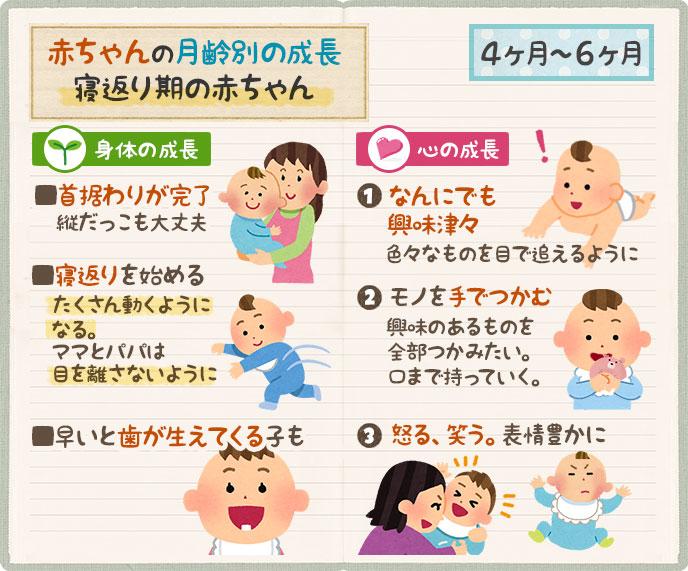 赤ちゃんの成長|生後4ヶ月・5ヶ月・6ヶ月は首も据わり動き出す