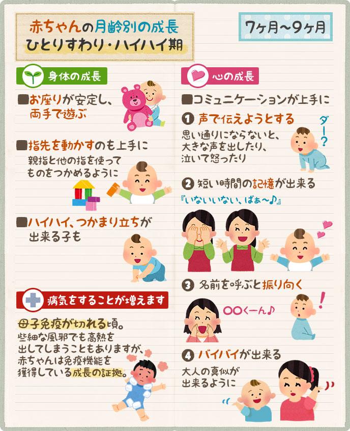赤ちゃんの成長|生後7ヶ月、8ヶ月、9ヶ月、身体面や言葉の成長
