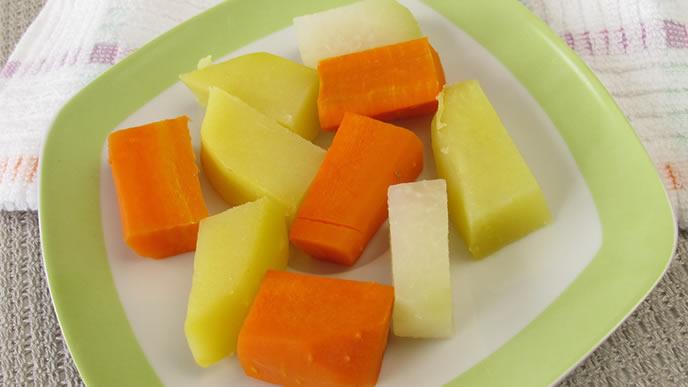 冷凍保存されていた離乳食に使う野菜