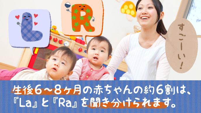 生後6ヶ月~8ヶ月の赤ちゃんは『La』と『Ra』の音を約65%が聞きわけている