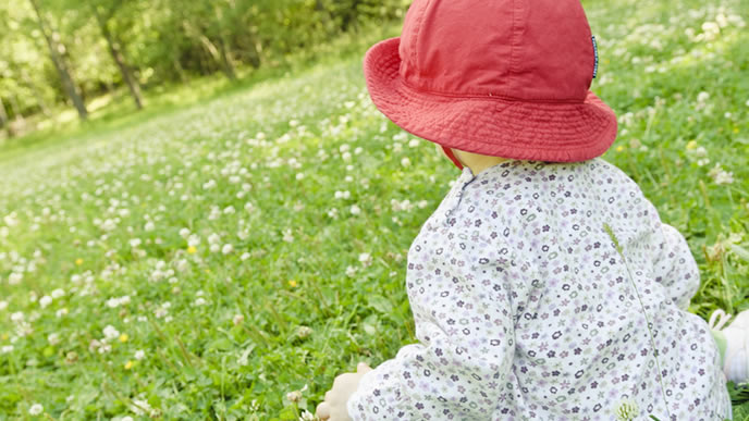 草原で草木を眺める赤ちゃん