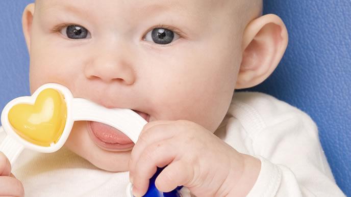 音が鳴るおもちゃを噛んで遊ぶ赤ちゃん