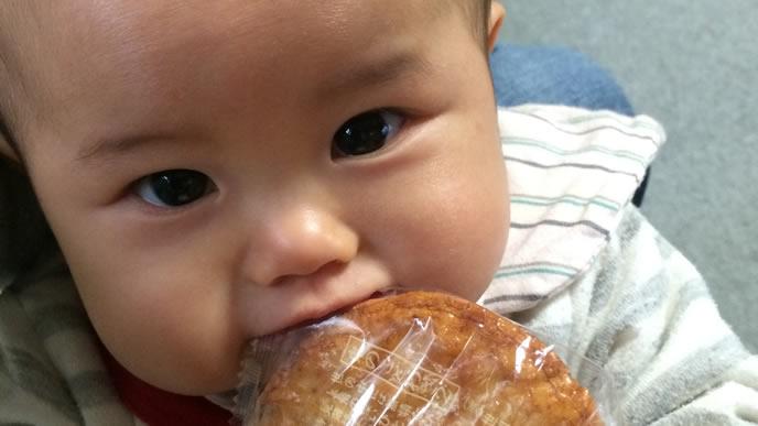 大好きなせんべいを噛む赤ちゃん