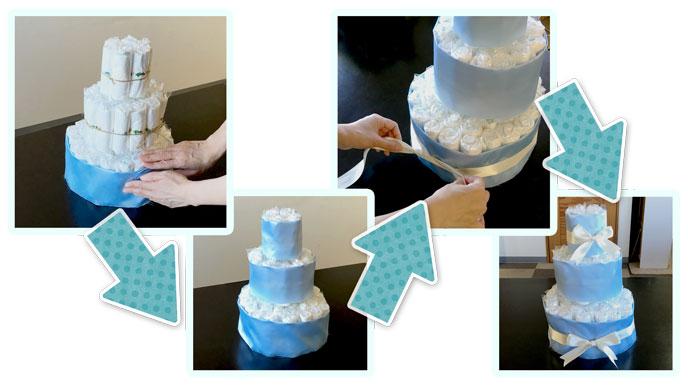 おむつケーキを飾る。布とリボンを巻く