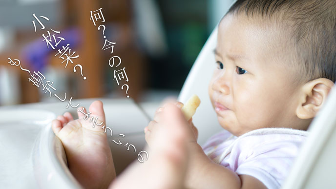 離乳食の野菜を嫌がる赤ちゃん