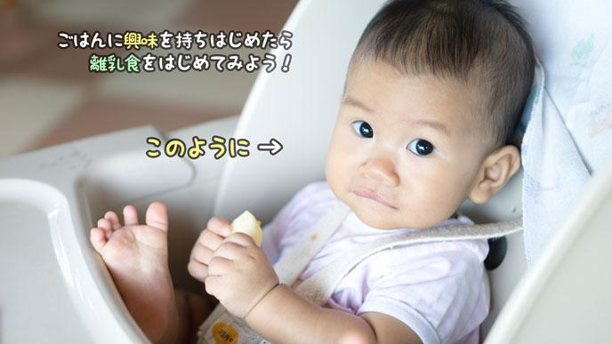 離乳食の進め方で開始のタイミングは赤ちゃんに合わせる