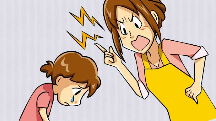 泣いている子供を一方的に叱っている母親のイラスト