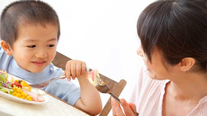 母親と一緒にご飯を食べている男の子