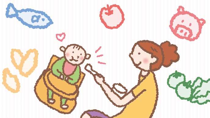 母親に離乳食を食べさせてもらっている赤ちゃんのイラスト