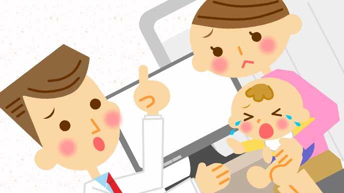 熱が出て病院で診察を受けている赤ちゃん