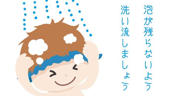シャンプーをシャワーで流している子供のイラスト