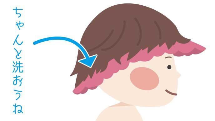 シャンプーハットをかぶっている子供のイラスト