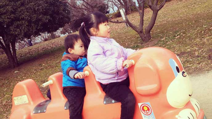 お姉ちゃんと一緒に遊具に乗って遊んでいる弟