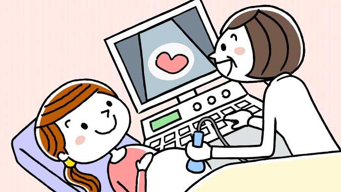 超音波検査を受けている妊婦さんのイラスト