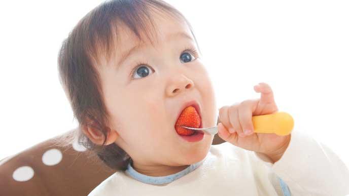 フォークを使って苺を食べてる赤ちゃん
