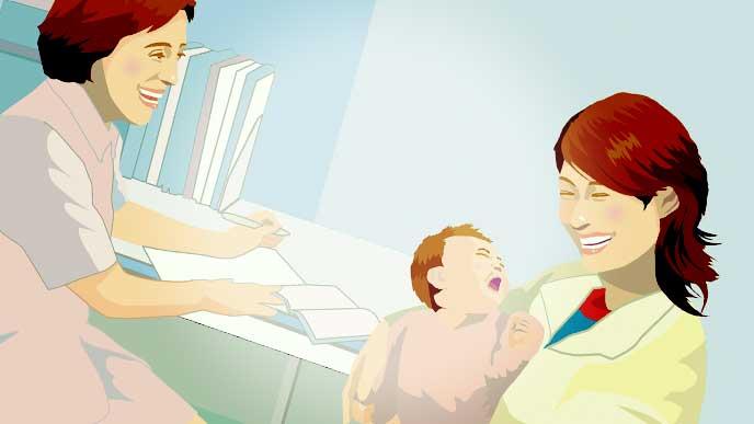 かかりつけの女医に熱のある赤ちゃんを診てもらっているママのイラスト