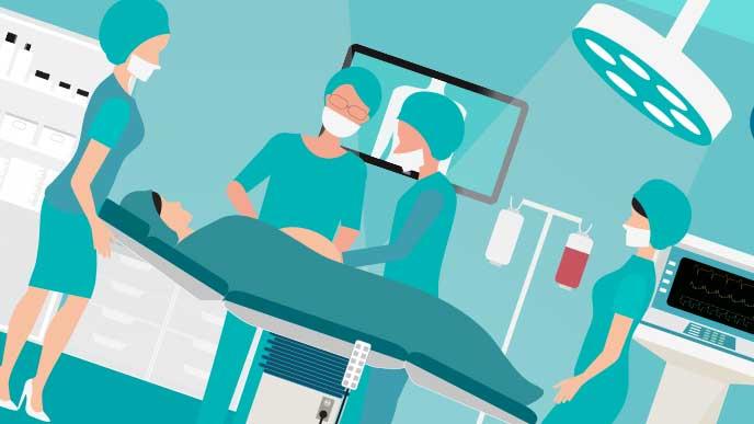 帝王切開の手術のイラスト