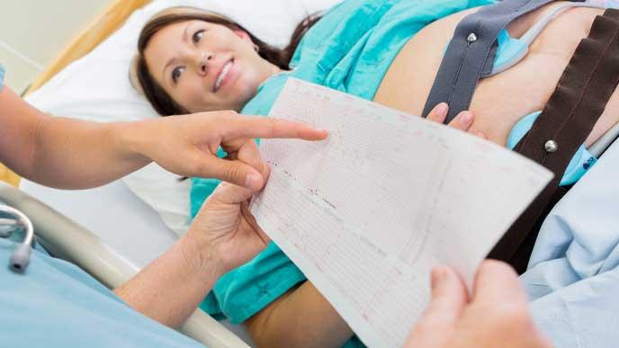 医師から麻酔について説明を受けているベッドに横になっている妊婦さん
