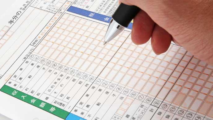 確定申告の書類を書いてる女性の手