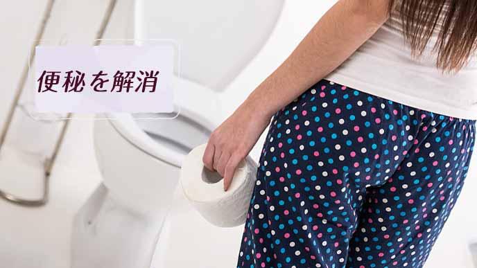 トイレの便座の前に立つ女性