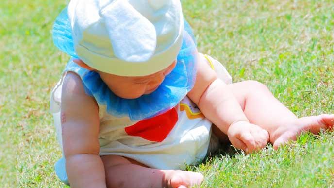 芝生で雑草を抜いてる赤ちゃん