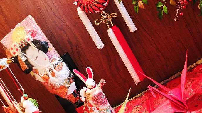 羽子板と正月飾り