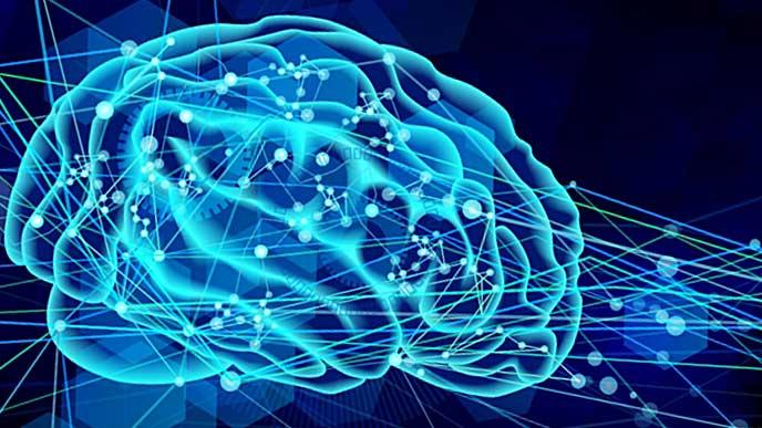 脳の伝達の様子を描いたコンピュータグラフィックス