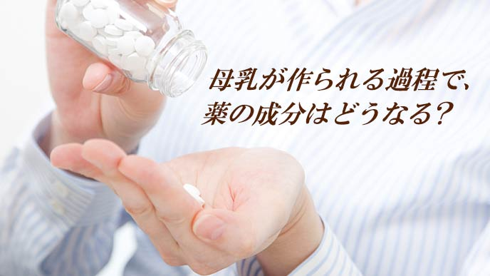 薬の瓶から手のひらに錠剤を出す