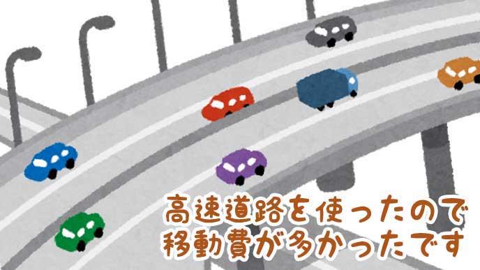 車が走る高速道路のイラスト