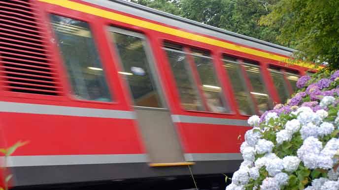 箱根に向かう電車