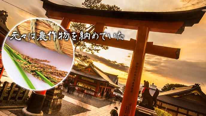 神社の鳥居と米俵