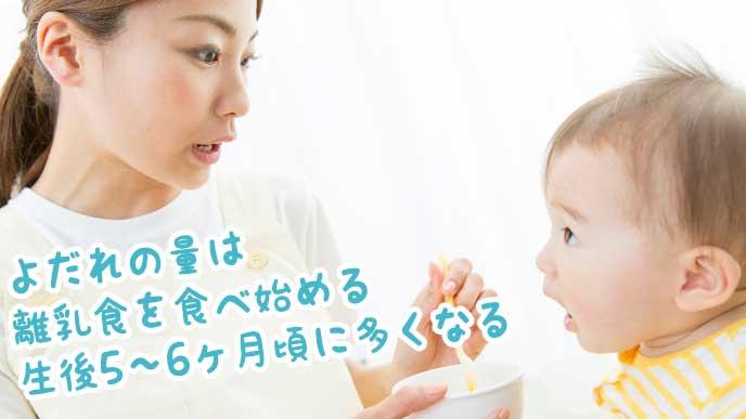 赤ちゃんに離乳食を食べさせるママ
