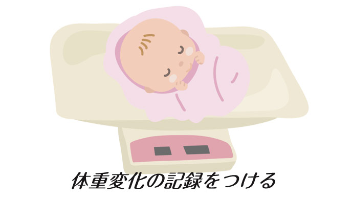 赤ちゃんをベビースケールに載せる