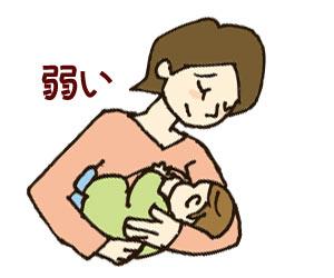 授乳しながら吸う力が弱いと感じる母親
