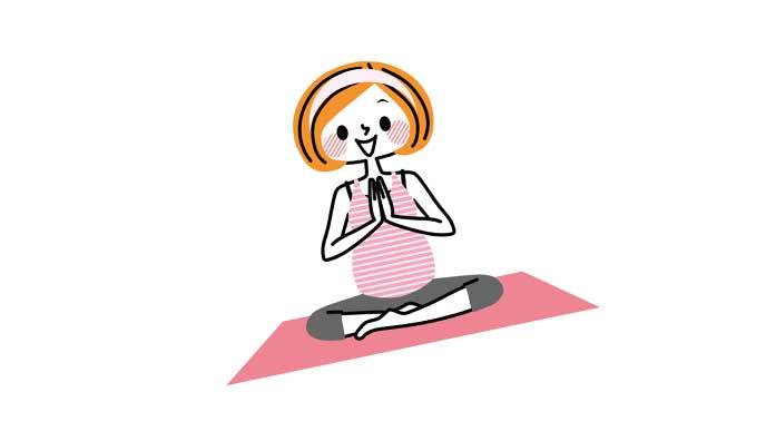 マタニティヨガをする妊婦のイラスト