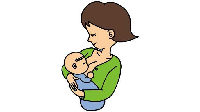 赤ちゃんに母乳を飲ませる母親のイラスト