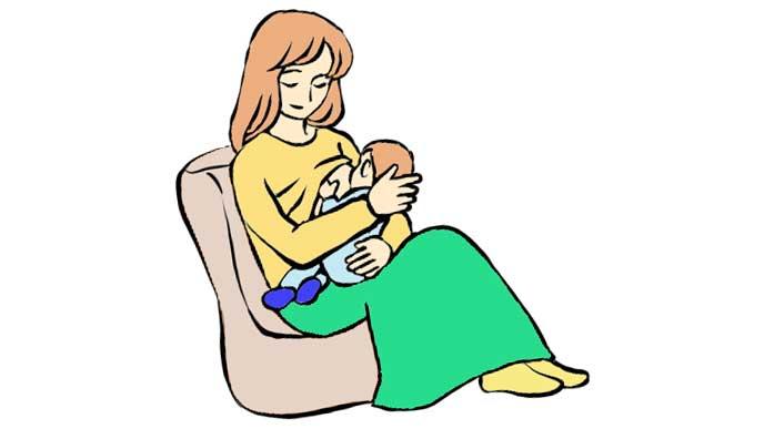 椅子に座り母乳を赤ちゃんに飲ませる母親のイラスト