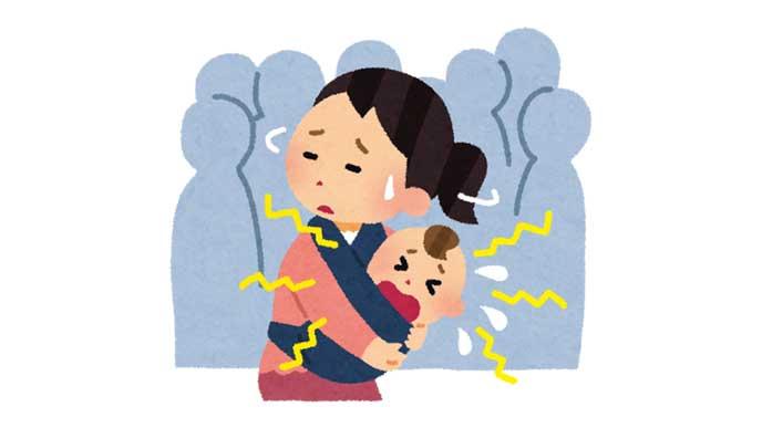 人ごみの中で泣き出す赤ちゃんと困っている母親のイラスト
