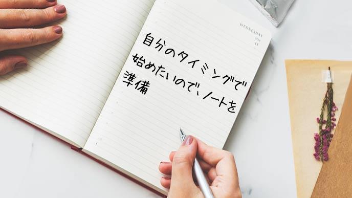 準備したノートに育児日記を書く