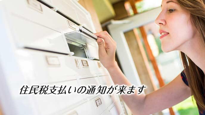 集合住宅の玄関で郵便物のチェックをする女性