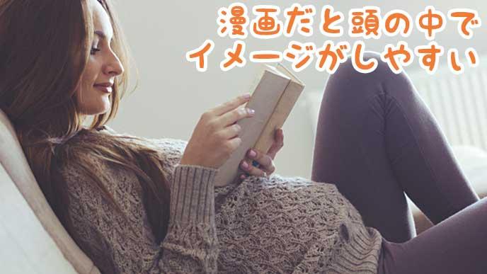 リビングで寄りかかりながら漫画を読む妊婦