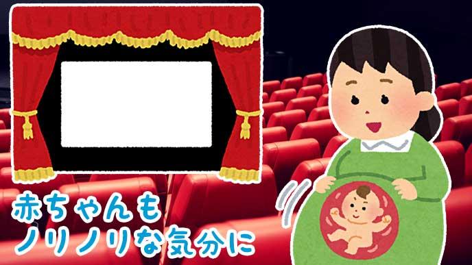 映画館で映画を見る妊婦とノリノリな赤ちゃんのイラスト
