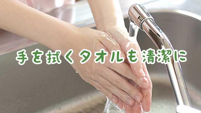 台所の水道で手を洗う