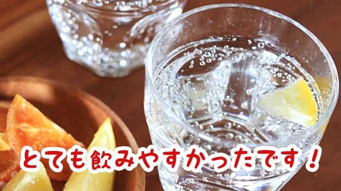 コップに注がれた炭酸水とレモン