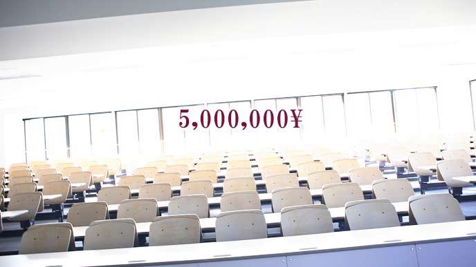 大学の講義室と5百万円の数字